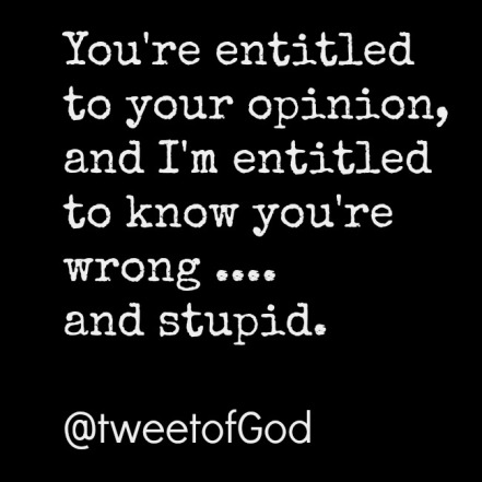 entitled to your opinion